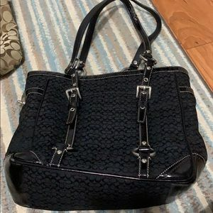 Black c material coach purse